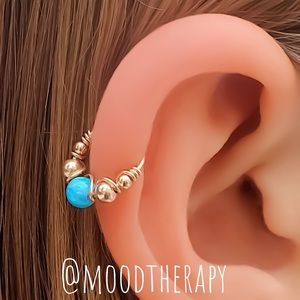 Blue Fire Opal Helix/Tragus Cartilage Hoop Earring